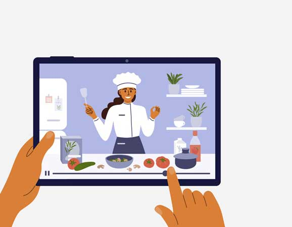 Cooking video played on a tablet